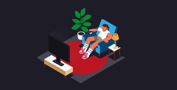 svg坐沙发看电视场景html5动画
