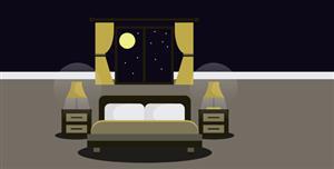SVG夜晚床月亮场景代码