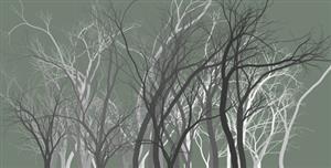 Canvas夜晚的树林HTML5代码