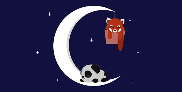 css3狐狸和熊猫宝宝在月亮上睡觉