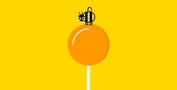 纯css3蜜蜂飞来吃棒棒糖动画