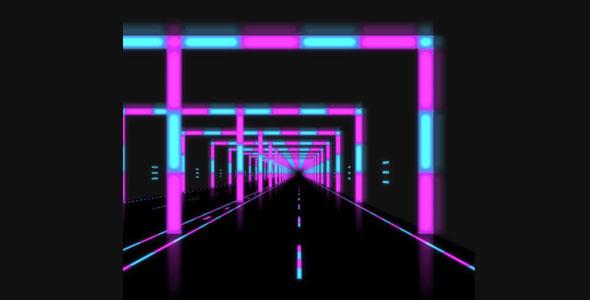 three.js霓虹灯隧道视差特效