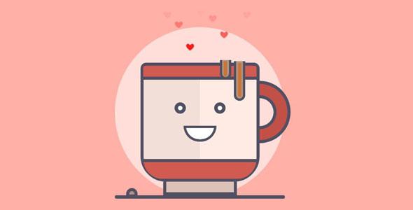 纯css3咖啡冒爱心热气动画源码下载