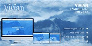 大气蓝色bootstrap响应着陆页html5模板
