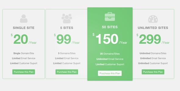 多样式Bootstrap产品价格表定价表插件