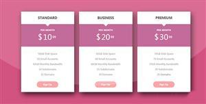 css3简洁时尚的Bootstrap价格表美化插件