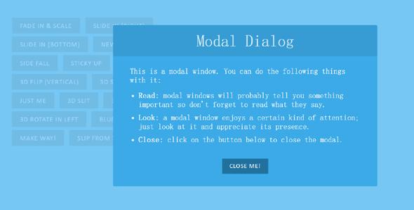 CSS3动画弹出模态窗口Modal插件