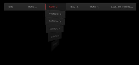 炫酷CSS3黑色导航菜单下拉动画