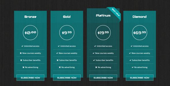 精美CSS3定价表插件10种样式
