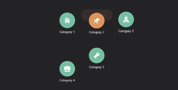 jQuery弹出跳跃的菜单动画插件
