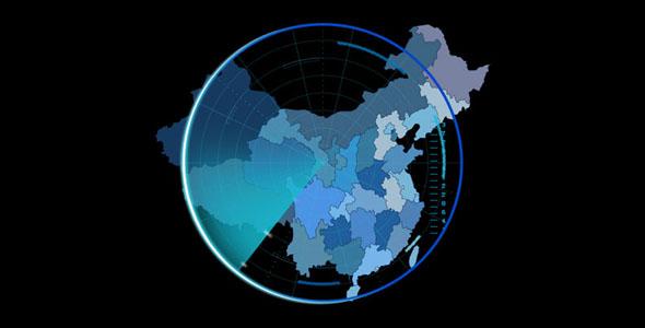 js雷达扫描中国地图特效