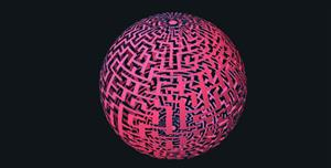 three.js镂空圆球拖拽变形特效