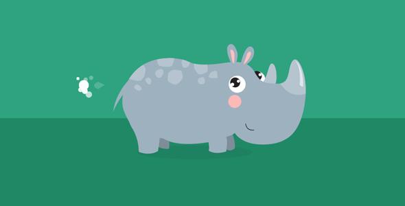gsap.js可爱犀牛走路放屁动画