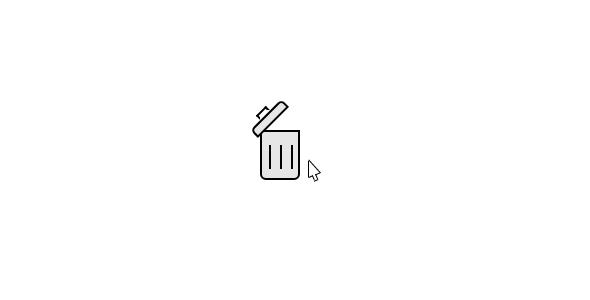 js+css3光标进入垃圾桶动画特效