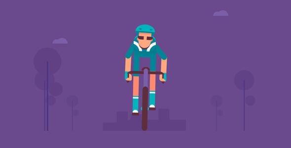 css3代码绘制的骑单车场景动画