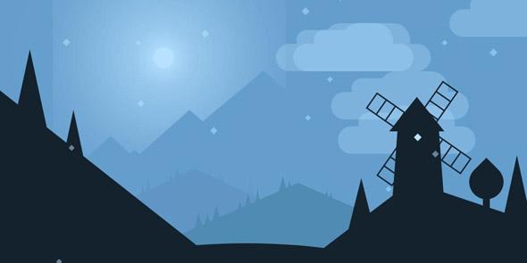 css3绘制的山坡上的小屋风车