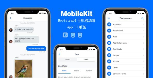 bootstrap4手机移动端app框架模板源码