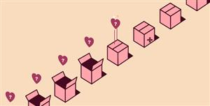 svg情人节爱心盒子打开动画
