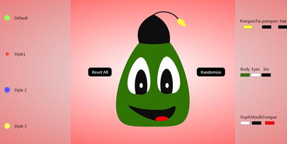 JS CSS自定义选择吉祥物颜色表情