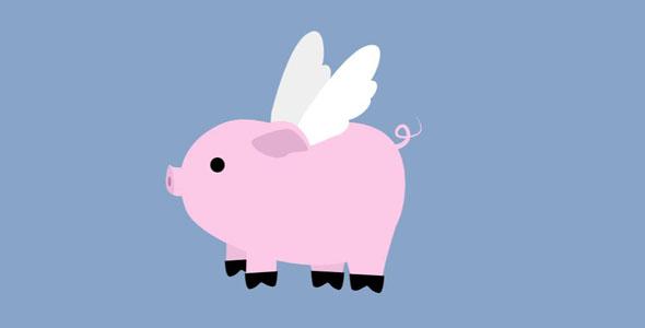 svg会飞的粉红猪搞笑动画特效代码