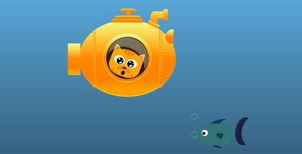 纯css3小猫海底潜艇鱼儿游动画