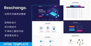 Bootstrap深藍色比特幣兌換服務模板