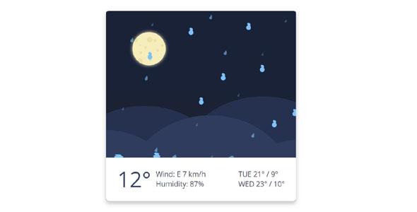 纯css3天气下雨动画特效