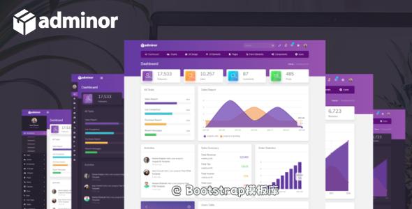 紫色清洁的自适用管理后台HTML5模板框架