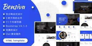 HTML5响应式蓝色沉稳公司业务网站模板