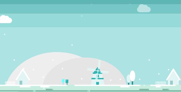 纯CSS3冬天风车小屋下雪场景特效