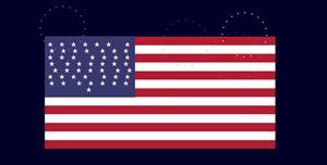 js css3美国国旗烟花特效