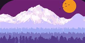 TweenMax+SVG雪山树林动态特效