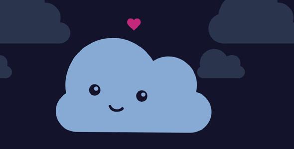 js svg云朵和爱心动画特效
