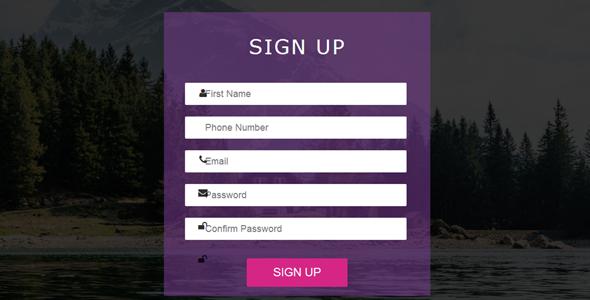 扁平设计注册表单页面