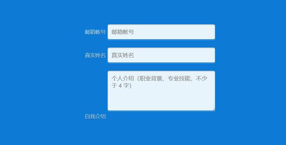 漂亮的蓝色背景表单输入框样式