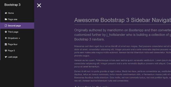 jquery+bootstrap左侧垂直菜单插件
