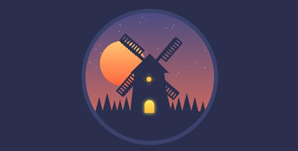 css3绘制的风车小屋动画特效