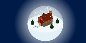 zdog+css3小屋下雪水晶球