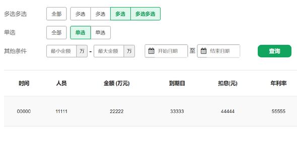 多条件查询列表html页面
