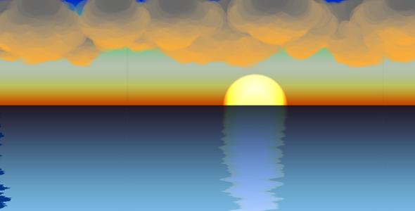 p5.js日出海面倒影动画特效源码下载