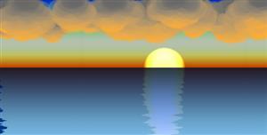 p5.js日出海面倒影动画特效