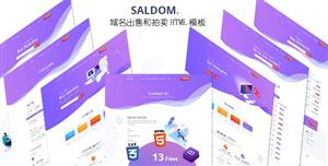 紫色的域名出售和拍卖网站HTML模板