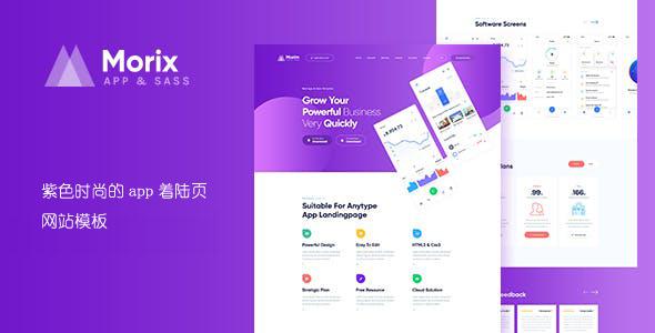 紫色时尚的app着陆页网站模板