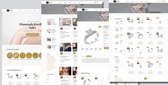 自适用珠宝首饰电子商务HTML模板