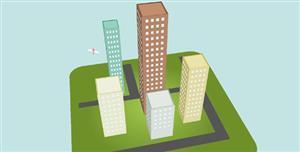 纯CSS3仿城市楼房3D建模特效