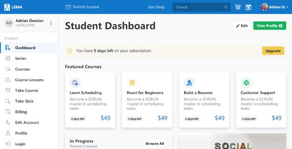 html学习管理系统admin模板