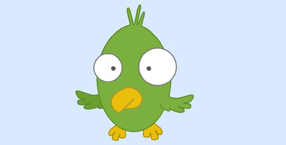 SVG卡通胖鸟煽动翅膀动画代码