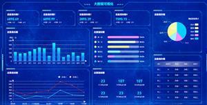 蓝色的大数据可视化平台Web页面源码