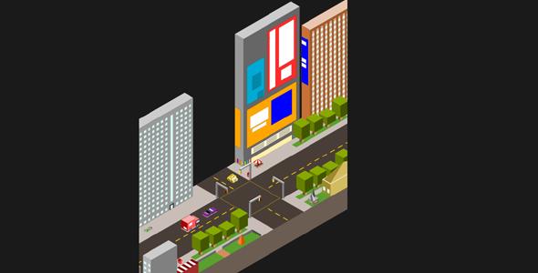 svg立体切面城市动画特效