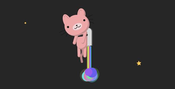 svg+gsap.js小猫火箭升空动画特效源码下载